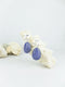 Blue handmade shell ear post tear drop statement dangling earrings