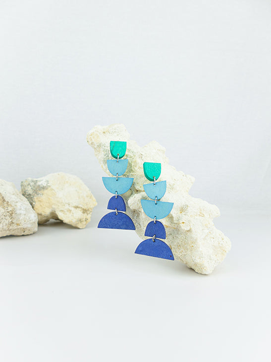 Blue handmade wood ear post geometric shape statement dangling earrings
