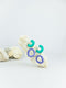 Mint and blue violet handmade wood and acrylic ear post geometric shaped statement dangling earrings