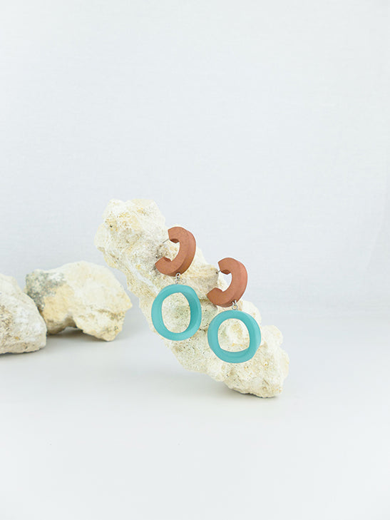 Blue handmade wood and acrylic ear post geometric shaped statement dangling earrings