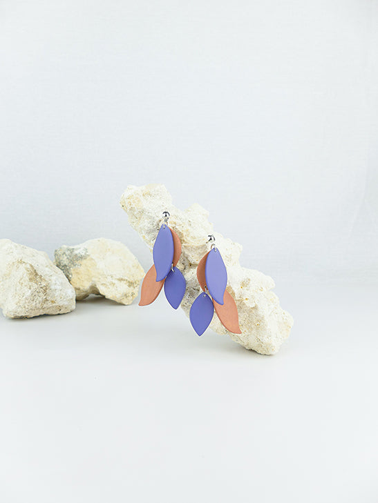 Blue handmade wood and acrylic ear post leaf shaped statement dangling earrings