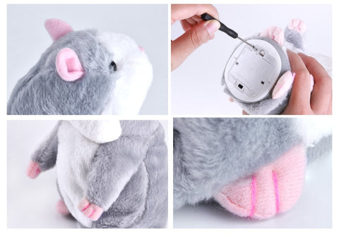 Cute Talking Hamster Plush Toys Electronic Speak Pets Talk Sound Record Repeat Plush Toy Funny Educational Toy for Kids