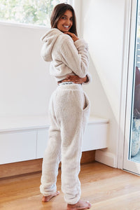Oatmeal Cream Teddy Cropped Hoody