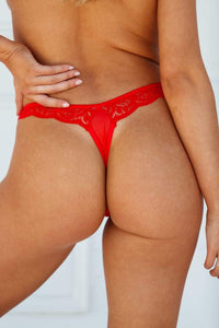 Red Floral Lace Thong
