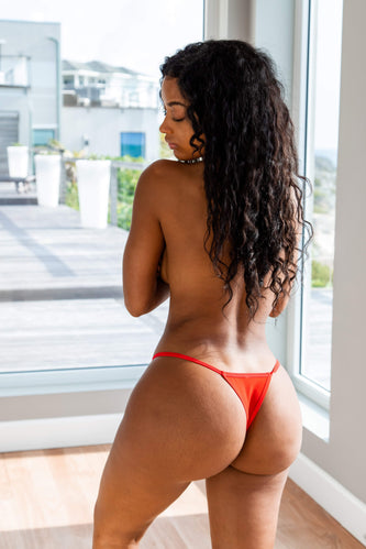 Red Mesh Strappy Thong
