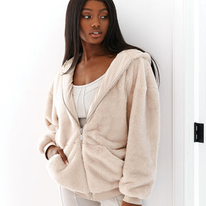 Walnut Snuggle Up Faux Fur Oversized Zip-Up Hoodie