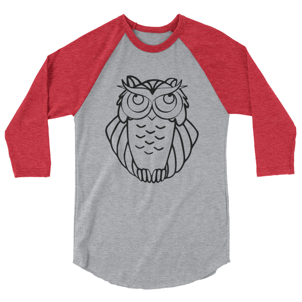 Ironic Owl Seriously Hip 3/4 Sleeve Raglan Baseball Shirt