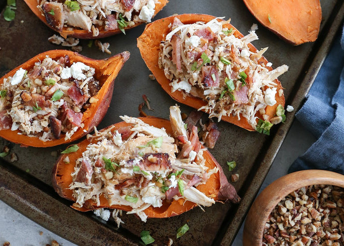 Loaded Sweet Potato Skins with Pecans