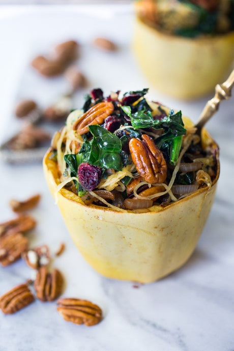 Stuffed Spaghetti Squash with Pecans, Kale and Dried Cranberries