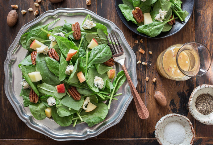 Spinach Salad with Maple Pecans, Apples and Blue Cheese