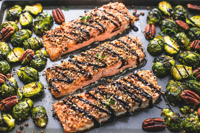 Sheet Pan Pecan-Crusted Salmon with Brussels Sprouts