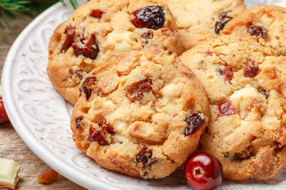 White chocolate cranberry cookies with pecan pieces