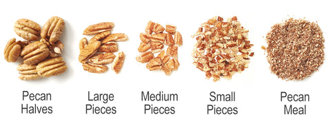 Different types of pecans - Size chart from Pecan Halves to Pecan Meal
