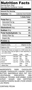 Dark Chocolate Pecan 12 oz Bag - nutrition label