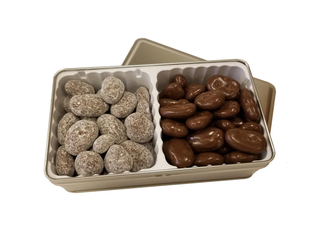 Double Chocolate Gift Tin - Toffee & Milk Chocolate Pecans