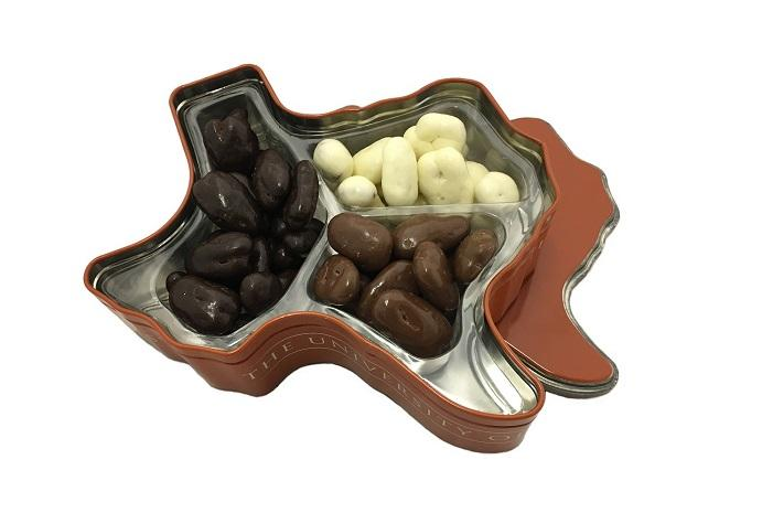 Texas Longhorn Gift Tin - chocolate pecans