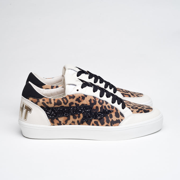 ANIMAL PRINT & BLACK GLITTER MERCURY L/F SNEAKERS