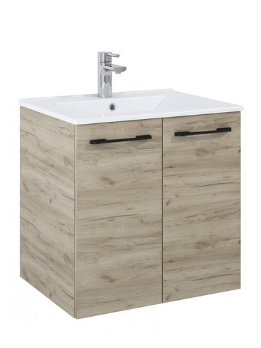 Otto Plus Craft Oak 60cm 2 door Wall Hung Vanity Unit - D46cm