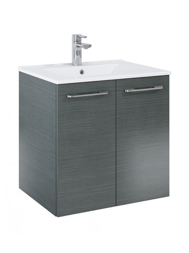 Otto Plus Grey Oak 60cm 2 door Wall Hung Vanity Unit - D46cm
