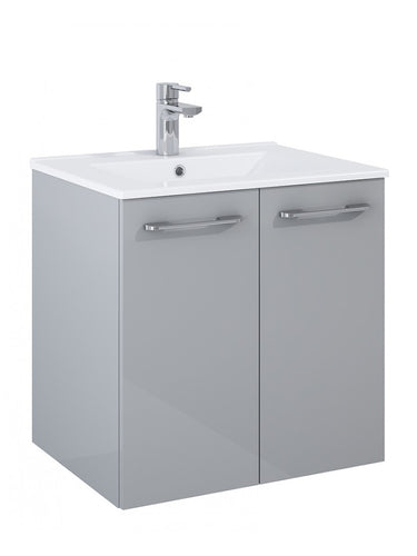 Otto Plus Gloss Light Grey 60cm 2 door Wall Hung Vanity Unit - D46cm