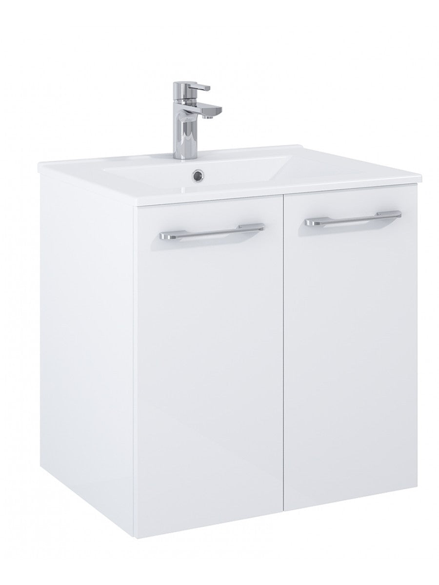 Otto Plus Gloss White 60cm 2 door Wall Hung Vanity Unit - D46cm
