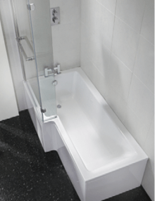 Milan Square Shower Bath, Panel & Bath Screen Right Hand