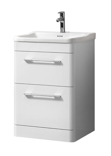 Ava 600mm Floor Standing Unit And Basin White