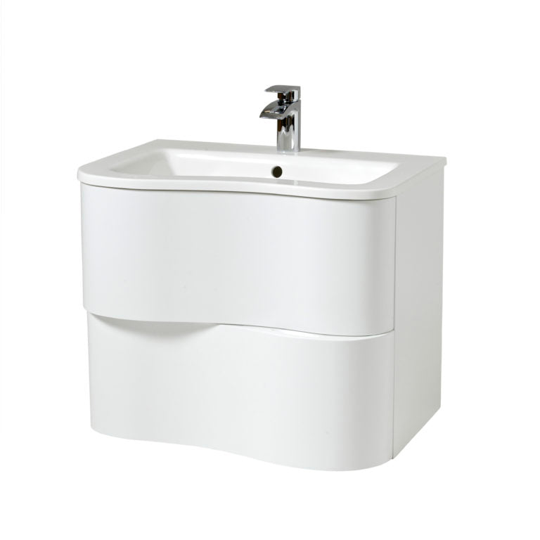Bella 650mm Wall Hung Unit And Basin White