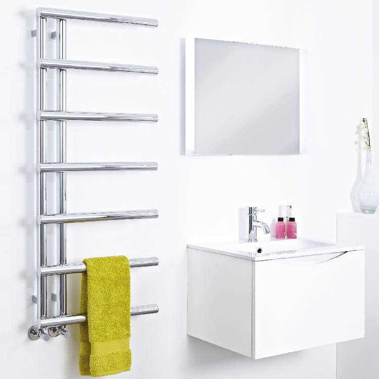 Level Designer Chrome Heated Towel Rail