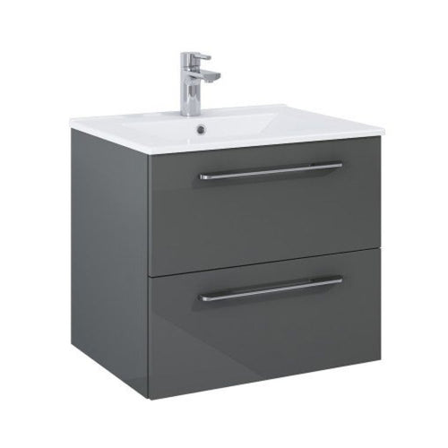 Otto Plus Gloss Grey 60cm 2 door Wall Hung Vanity Unit - D46cm