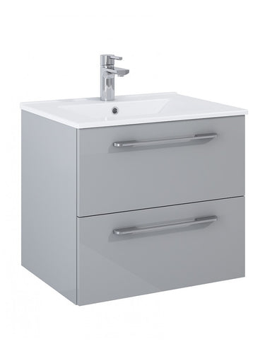 Otto Plus Gloss Light Grey 60cm 2 Drawer Wall Hung Vanity Unit - D46cm