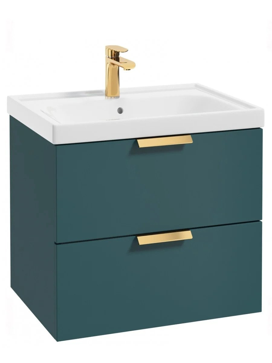 Stockholm Ocean Blue Matt 60cm Wall Hung Vanity Unit - Brushed Gold Handle