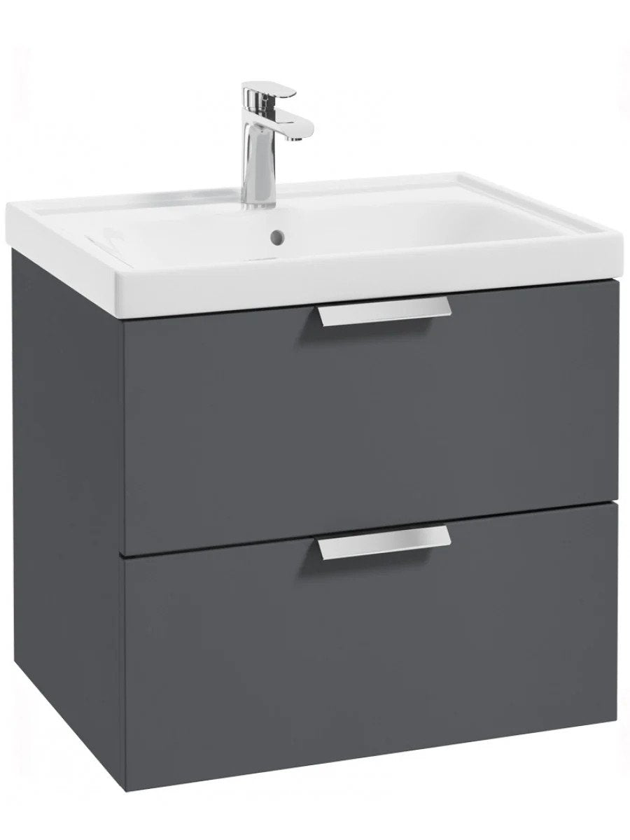 Stockholm Midnight Grey Matt 60cm Wall Hung Vanity Unit - Brushed Chrome Handle