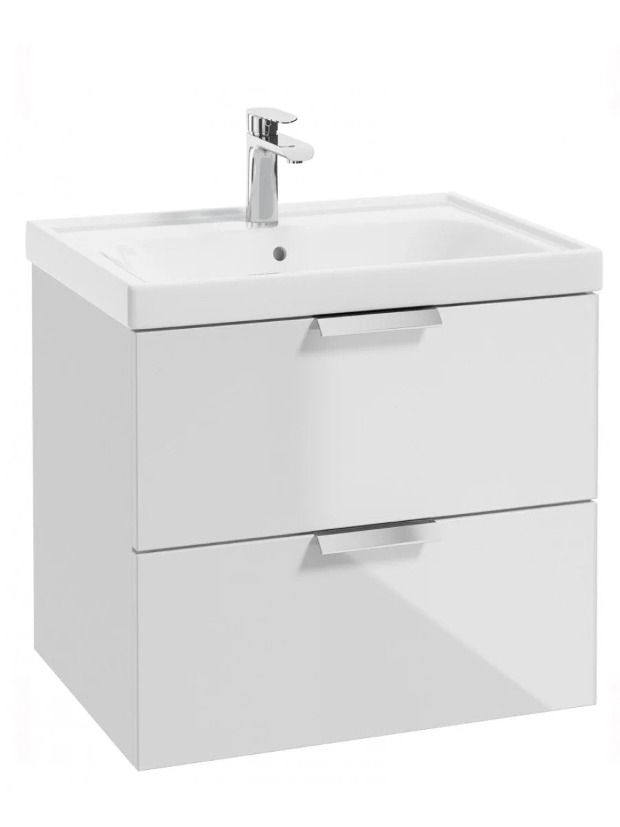 Stockholm Gloss White 60cm Wall Hung Vanity Unit - Brushed Chrome Handle