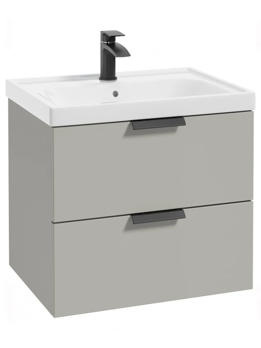 Stockholm Arctic Grey Matt 60cm Wall Hung Vanity Unit - Matt Black Handle