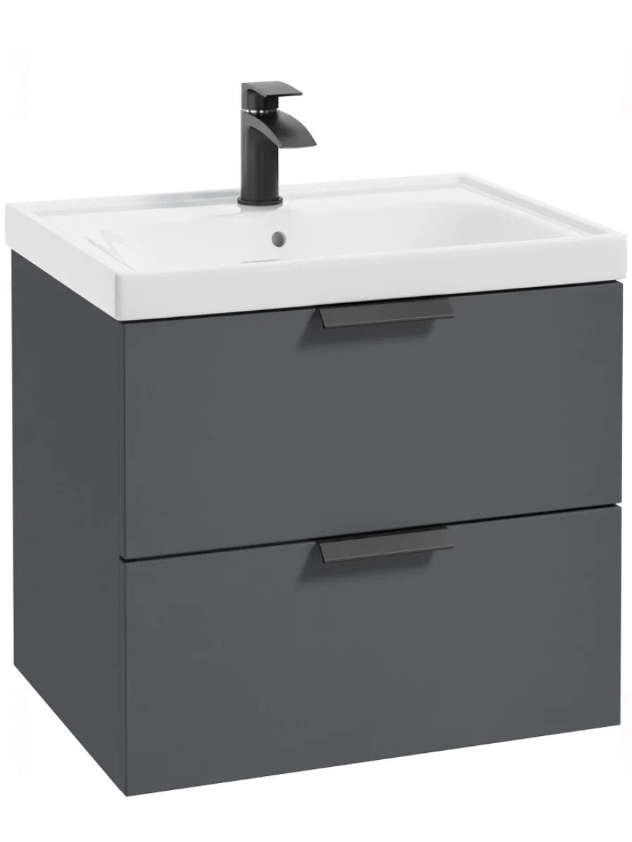 Stockholm Midnight Grey Matt 60cm Wall Hung Vanity Unit Matt Black H Luxe Bathrooms