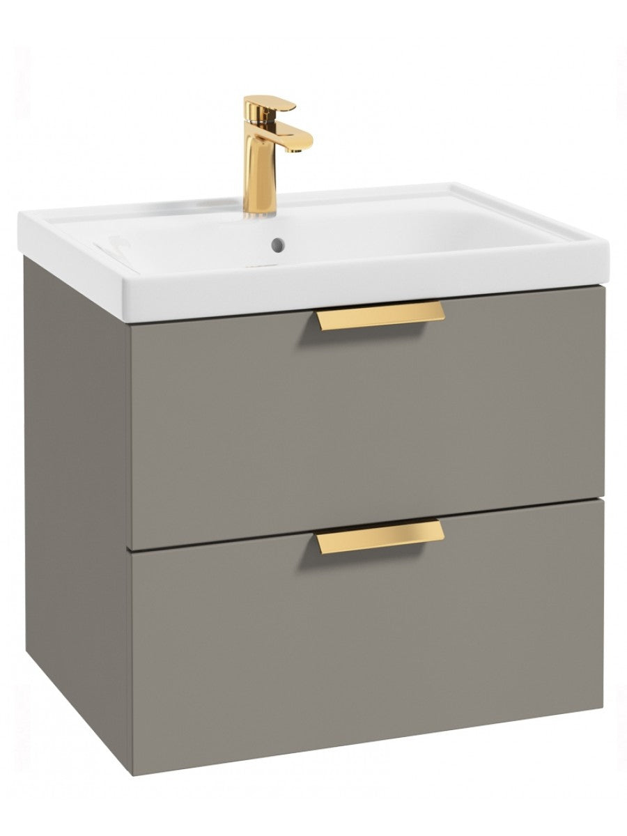 Stockholm Khaki Matt 60cm Wall Hung Vanity Unit - Brushed Gold Handle