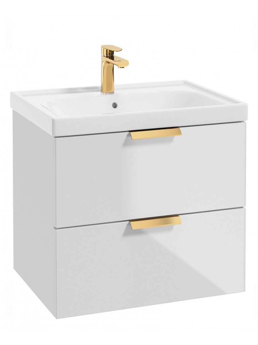 Stockholm Gloss White 60cm Wall Hung Vanity Unit - Brushed Gold Handle
