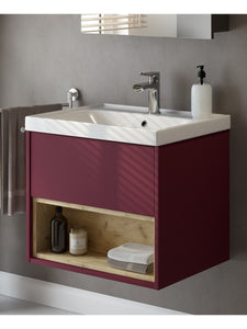 Malta Burgundy Matt 60cm Wall Hung Unit