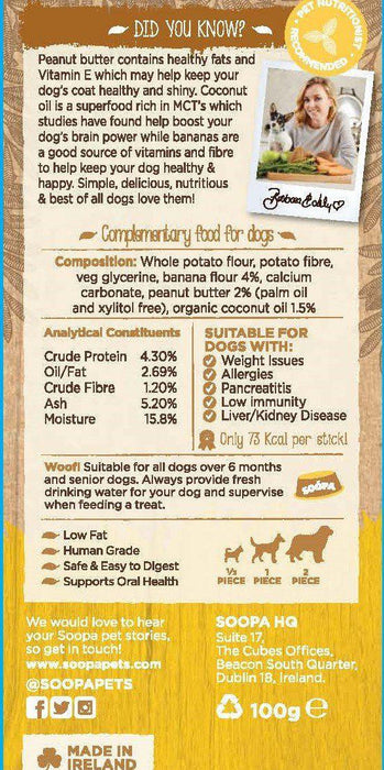 Soopa Banana and Peanut Butter Dental Sticks - Land of Holistic Pets