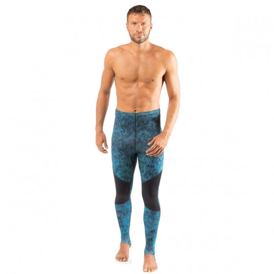 Cressi Cobia Blue Camouflage Hooded Rash Guard - Neoprene Padded Chest