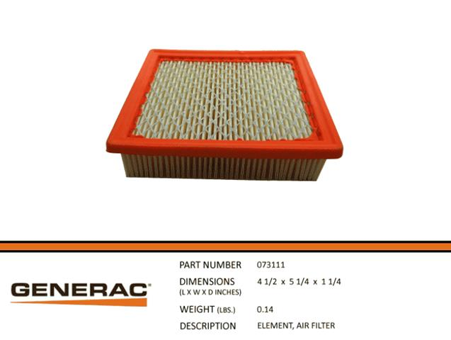 Generac - 073111S Air Filter Element 410 Engine