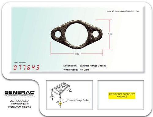 Generac Guardian Generator Exhaust Flange Gasket Part# 077643