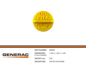 Generac Guardian 086690 CAP OIL FILL,YELLOW