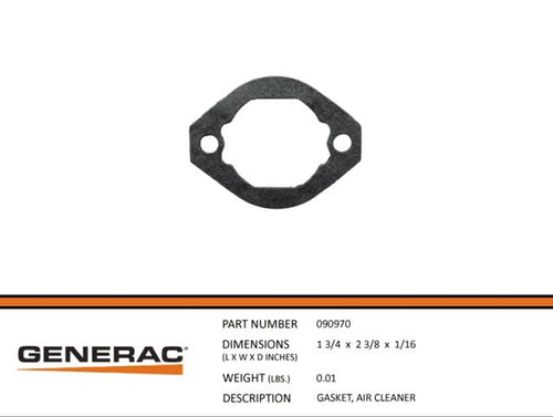 Generac Guardian 090970 GASKET, AIR CLEANER