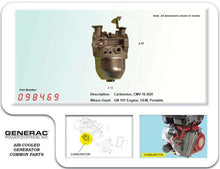 Load image into Gallery viewer, Generac Guardian CARBURETOR CMV16-B20 191HS  098469
