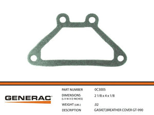 Generac Guardian 0C3005 GASKET,BREATHER COVER GT-990