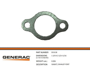 Generac Guardian 0C4138 GASKET,EXHAUST PORT