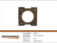 Load image into Gallery viewer, Generac Guardian 0C4647 GASKET SOLENOID