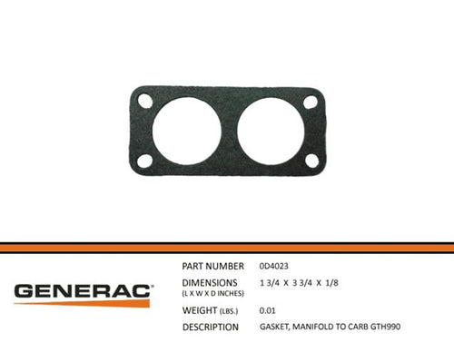 Generac 0D4023 Gasket, Manifold to Carb GTH990